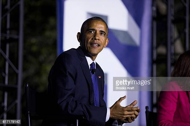 S President Barack Obama participates in a conversation during the 'South By South Lawn' SXSL festival on October 3 2016 in Washington DC The White...