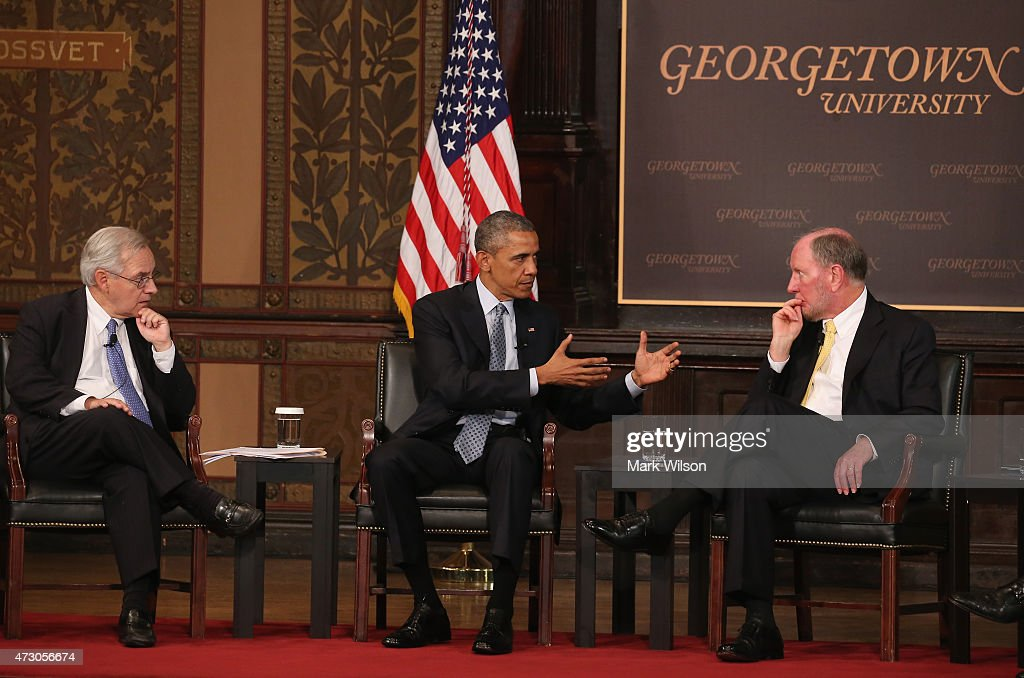 President Obama Addresses Georgetown U. Summit On Poverty : News Photo