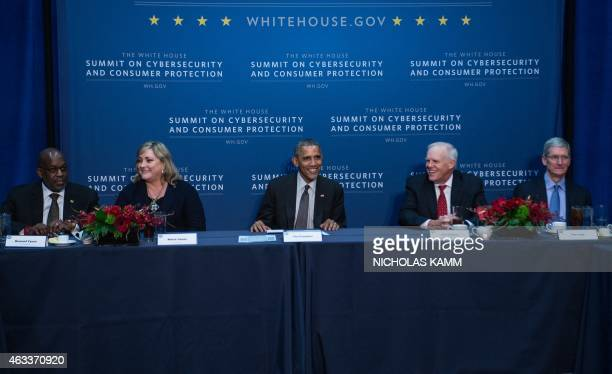 US President Barack Obama participates in a roundtable with business leaders at Stanford University in Palo Alto California on February 13 2015 From...