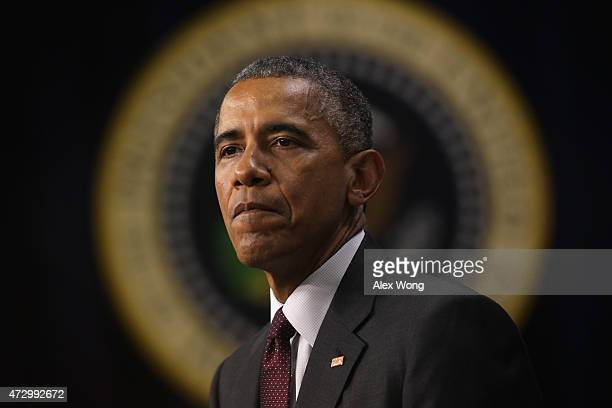 S President Barack Obama pauses as he speaks during an event to recognize emerging global entrepreneurs May 11 2015 at the South Court Auditorium of...