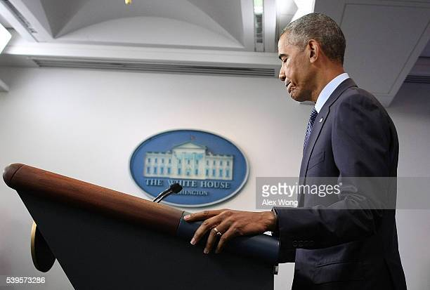 President Barack Obama pauses during a statement regarding the Orlando mass shooting June 12, 2016 at the James Brady Press Briefing Room of the...