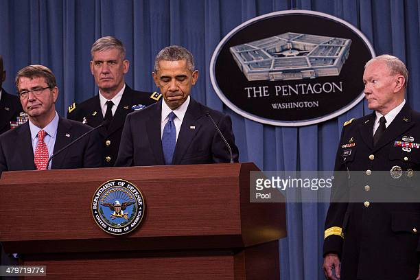 US President Barack Obama pauses while delivering remarks after meeting with members of his national security team concerning ISIS at the Pentagon...