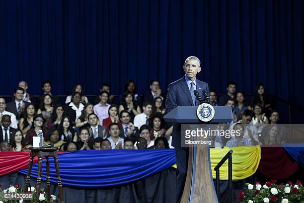 US President Barack Obama pauses while speaking during a town hall meeting at the Pontifical Catholic University in Lima Peru on Saturday Nov 19 2016...