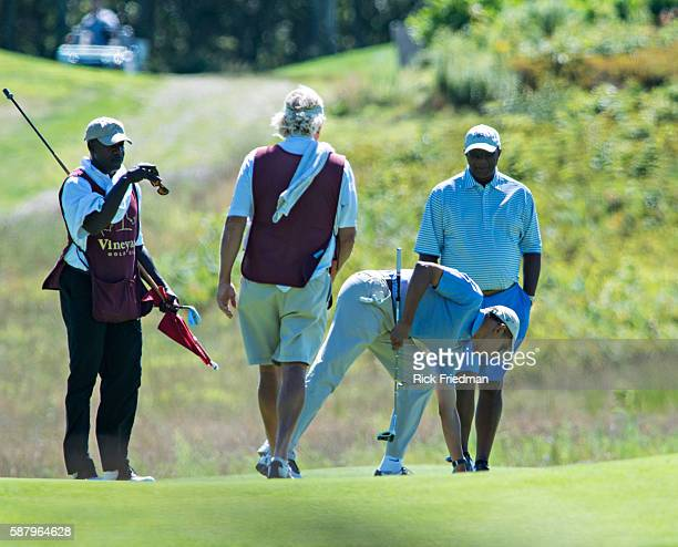 President Barack Obama playing golf at the Martha's Vineyard Golf Club while on vacation in Edgartown Martha's Vineyard MA on August 14 2013