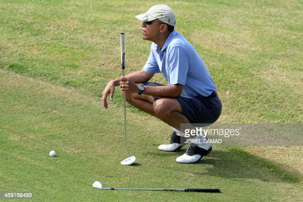 US President Barack Obama plays golf at MidPacific Country Club in Kailua Hawaii 2013 The first family is in Hawaii for their annual winter holiday...