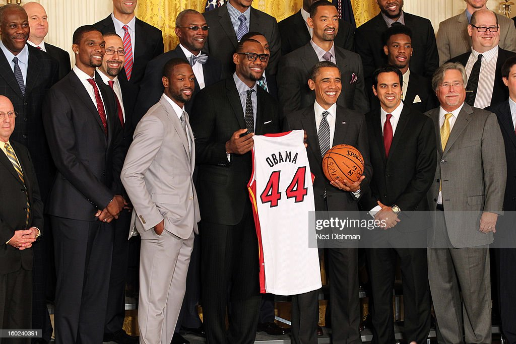 President Barack Obama poses for a photo during a visit by the Miami Heat to the White House to commemorate the 2012 NBA Champions on January 28, 2013 in Washington, DC.