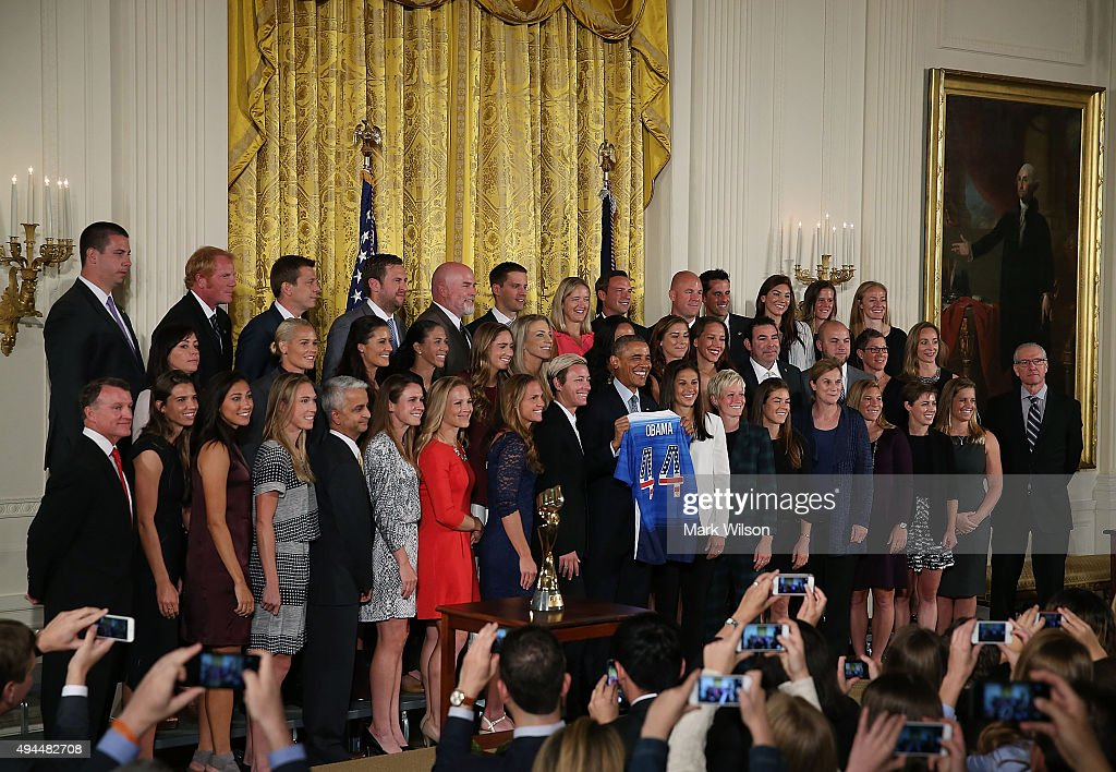 President Obama Hosts The 2015 FIFA Women's World Cup Champions, The U.S. Nat'l Soccer Team : News Photo