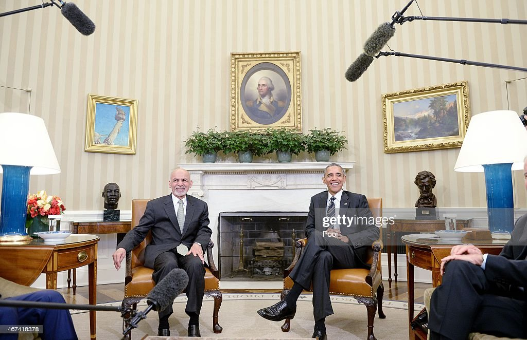 president oval office. U.S. President Barack Obama Poses With Afghan Ghani During A Restricted Bilateral Meeting In The Oval Office