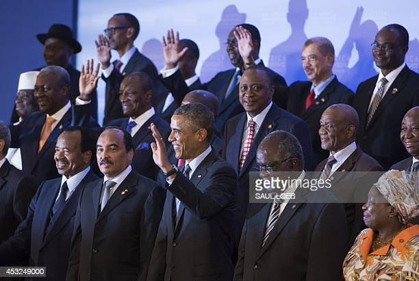 US President Barack Obama poses with African leaders at the US Africa Leaders Summit at the US State Department in Washington DC August 6 2014 Obama...
