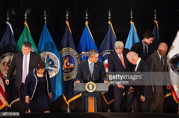 US President Barack Obama prepares to deliver remarks after a national security team meeting at the National Counterterrorism Center in McLean...