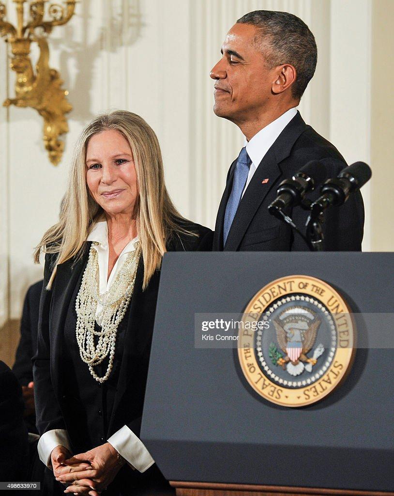 President Barack Obama presents Barbra Streisand with the Presidential Medal of Freedom during the 2015 Presidential Medal Of Freedom ceremony at the White House on November 24, 2015 in Washington, DC.