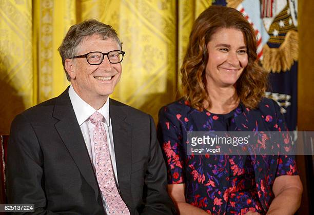 President Barack Obama presents Bill Gates and Melinda Gates with the 2016 Presidential Medal Of Freedom at the White House on November 22 2016 in...