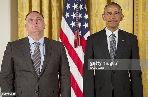 US President Barack Obama presents chef Jose Andres with the 2015 National Humanities Medal during a ceremony in the East Room of the White House in...
