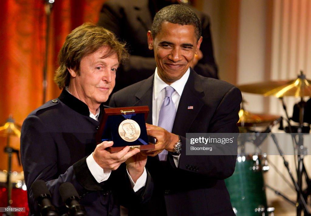US President Barack Obama Presents Former Beatle Paul McCartney The Gershwin Prize For Popular Song During