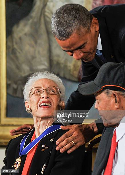 President Barack Obama presents Katherine G Johnson with the Presidential Medal of Freedom during the 2015 Presidential Medal Of Freedom Ceremony at...