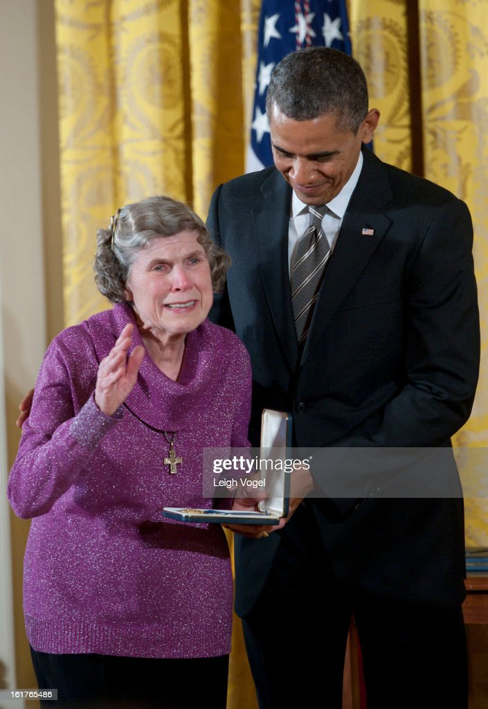 President Barack Obama presents Sharing and Caring Hands co-founder Mary Jo Copeland with the 2012 Presidential Citizens Medal at the White House on February 15, 2013 in Washington, DC.