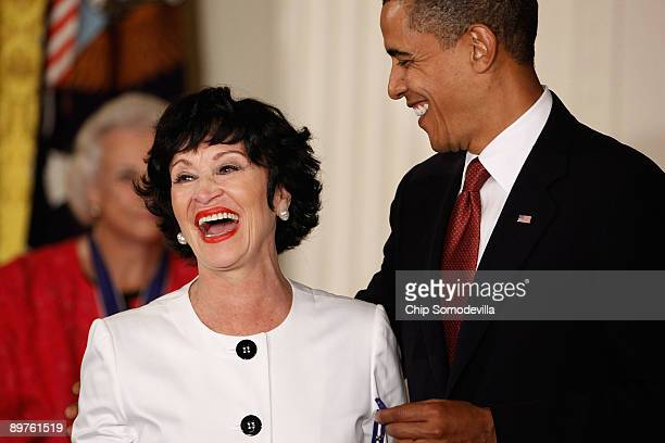 S President Barack Obama presents the Medal of Freedom to stage and screen legend Chita Rivera during a ceremony in the East Room of the White House...