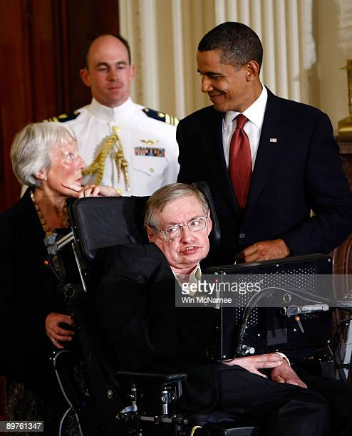 S President Barack Obama presents the Medal of Freedom to Steven Hawking during a ceremony at the White House August 12 2009 in Washington DC The...