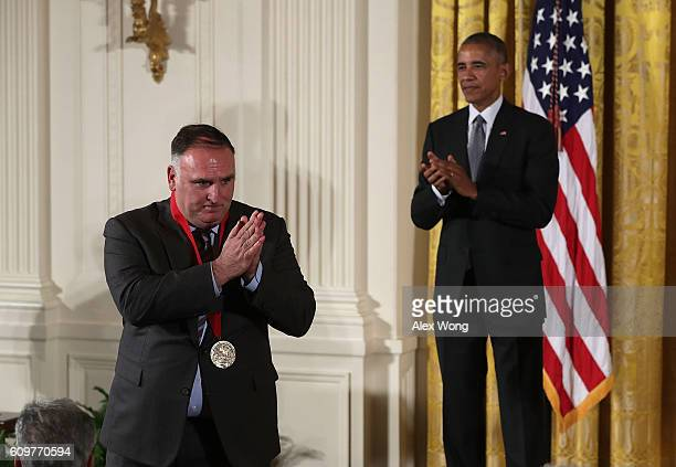S President Barack Obama presents the National Humanities Medal to chef and entrepreneur Jose Andres during an East Room ceremony at the White House...