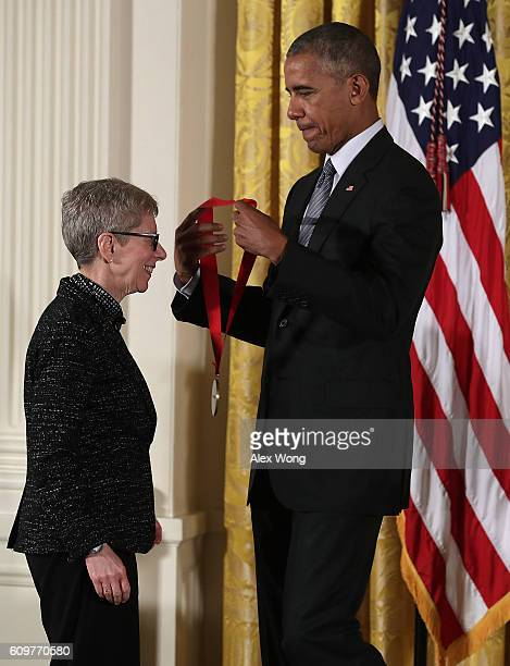 S President Barack Obama presents the National Humanities Medal to radio host Terry Gross during an East Room ceremony at the White House September...