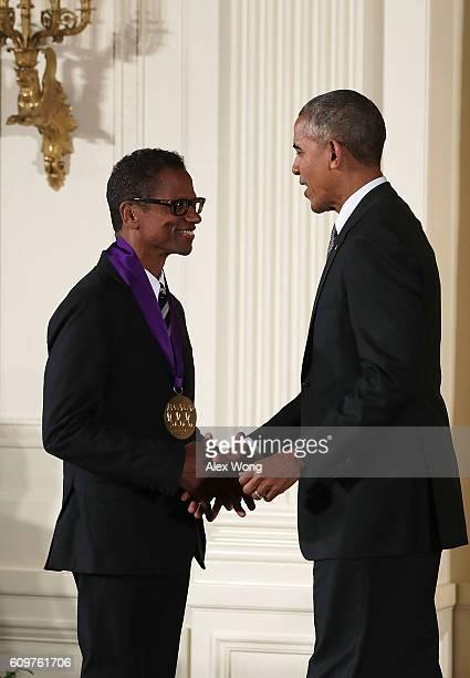 S President Barack Obama presents the National Medal of Arts to dancer Ralph Lemon during an East Room ceremony at the White House September 22 2016...
