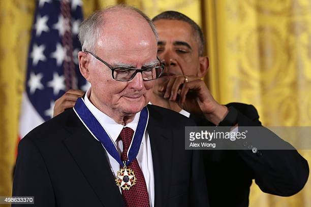 S President Barack Obama presents the Presidential Medal of Freedom to William Ruckelshaus the first and fifth Administrator of the Environmental...