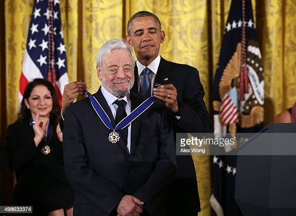 S President Barack Obama presents the Presidential Medal of Freedom to theater composers and lyricists Stephen Sondheim during an East Room ceremony...