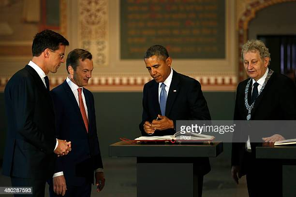 President Barack Obama , Prime Minister of the Netherlands Mark Rutte and Mayor of Amsterdam Mayor Eberhard van der Laan visit the Rijksmuseum ahead...