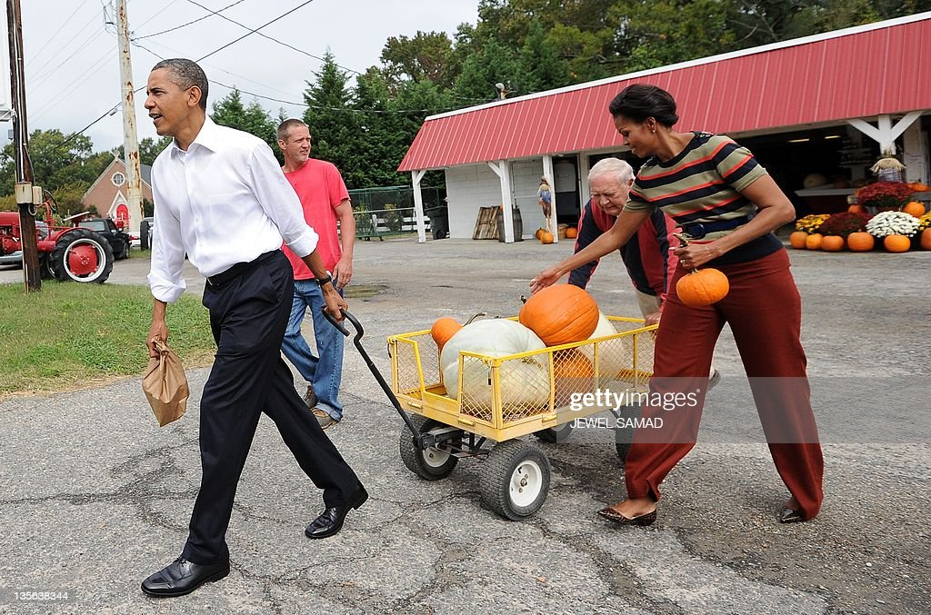 US President Barack Obama pulls a cart full of pumpkin he bought at a pumpkinpatch while First Lady Michelle Obama carries two in Hampton, Virginia, on October 19, 2011. Obama accused the Republican opposition of spreading 'misinformation' about his jobs proposals, saying only the wealthiest Americans would pay more taxes. Obama is on the last leg of his campaign-style bus tour to rally support for his economic proposals, which have stalled in Congress. Obama said the vast majority of Americans would see a tax cut under the bill -- a $447 billion proposal aimed at reviving economic growth and curbing 9.1 percent unemployment. AFP Photo/Jewel Samad