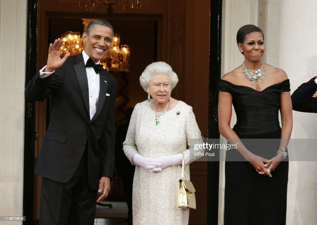 U.S. President Barack Obama, Queen Elizabeth II and First Lady Michelle Obama arrive at Winfield House, the residence of the Ambassador of the United States of America, in Regent's Park, on May 25, 2011 in London, England. The 44th President of the United States, Barack Obama, and First Lady Michelle are in the UK for a two day State Visit at the invitation of HM Queen Elizabeth II. Last night they attended a state banquet at Buckingham Palace and today's events include talks at Downing Street and the President will address both houses of Parliament at Westminster Hall.