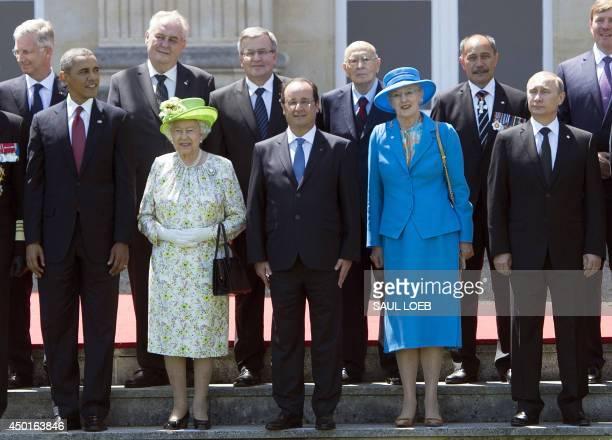 US President Barack Obama Queen Elizabeth of Britain French President Francois Hollande Queen Margrethe of Denmark and Russian President Vladimir...