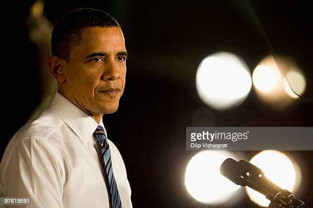 S President Barack Obama rallies support for his health care reform initiative at St Charles High School on March 10 2010 in St Charles Missouri The...