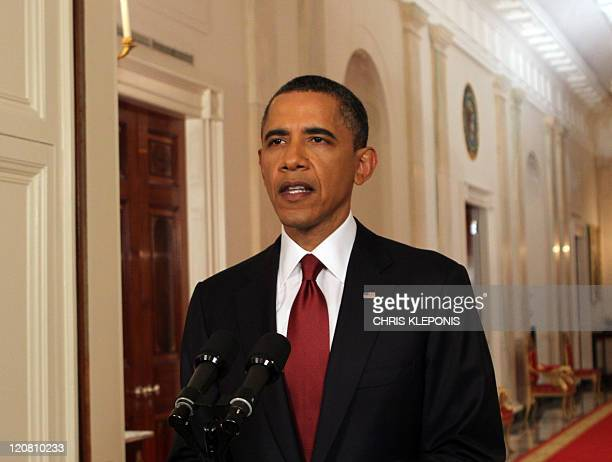 President Barack Obama re creates his speach announcing the death of Osama Bin Laden at The White ouse in Washington DC, May 1, 2011. The United...