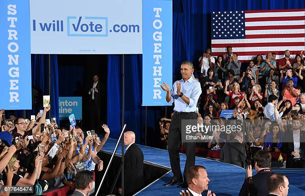 S President Barack Obama reacts after speaking at a campaign rally for Democratic presidential nominee Hillary Clinton at Cheyenne High School on...
