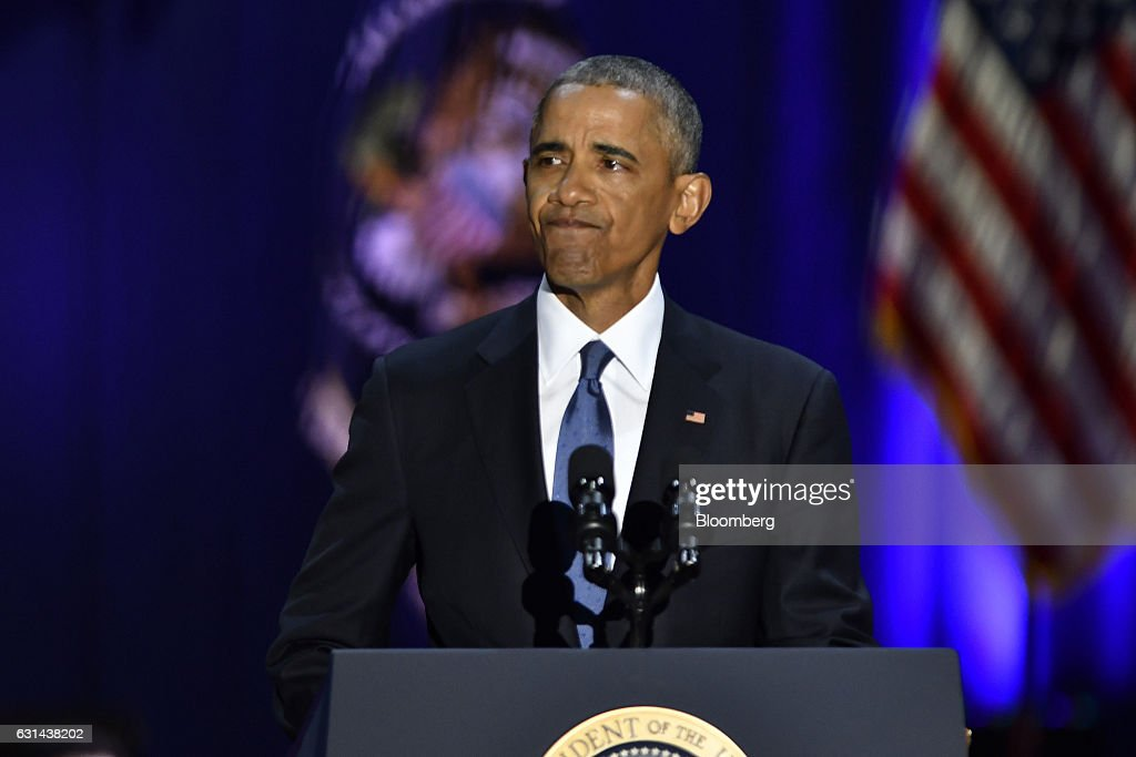 U.S. President Barack Obama reacts while speaking about U.S. First Lady Michelle Obama, not pictured, during his farewell address in Chicago, Illinois, U.S., on Tuesday, Jan. 10, 2017. Obama blasted 'zero-sum' politics as he drew a sharp contrast with his successor in his farewell address Tuesday night, acknowledging that despite his historic election eight years ago his vision for the country will exit the White House with him. Photographer: Christopher Dilts/Bloomberg via Getty Images