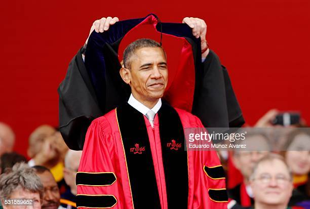 President Barack Obama receives an honorary doctorate of laws while attending the 250th anniversary commencement ceremony at Rutgers University on...
