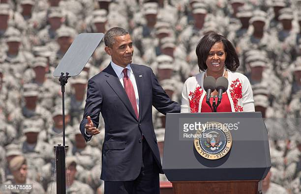 President Barack Obama responds after first lady Michelle Obama commented on how handsome her husband is at Fort Stewart army base on April 27, 2012...