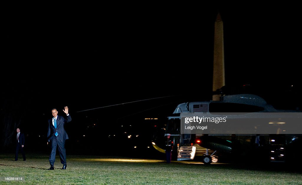 President Barack Obama returns to the White House after delivering remarks on immigration reform on January 29, 2013 in Washington, DC.