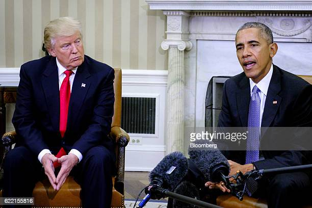 US President Barack Obama right speaks as US Presidentelect Donald Trump listens during a news conference in the Oval Office of the White House in...