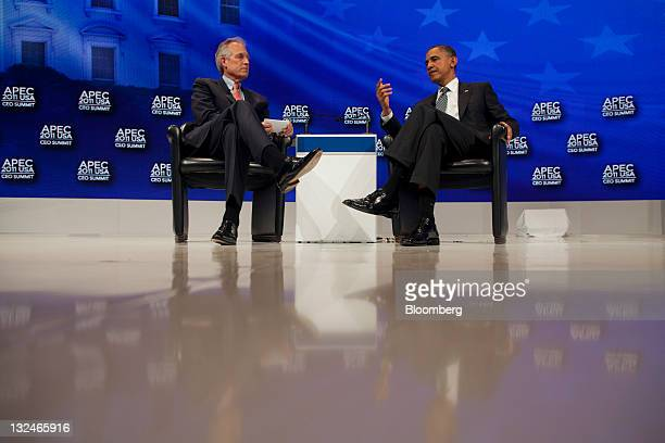 President Barack Obama, right, talks with James McNerney, chief executive officer of Boeing Co., during the Asia-Pacific Economic Cooperation CEO...