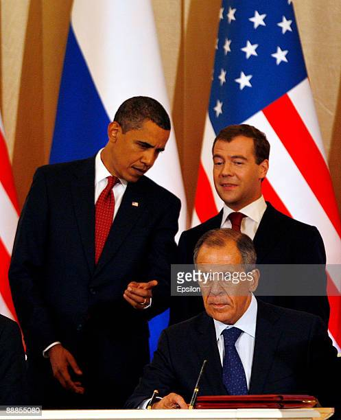 US President Barack Obama Russian President Dmitry Medvedev and Russian Foreign Minister Sergey Lavrov hold their press conference after the signing...