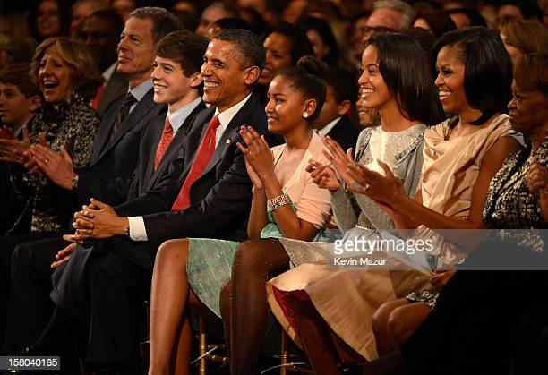 US President Barack Obama Sasha Obama Malia Obama and First Lady Michelle Obama attend TNT Christmas in Washington 2012 at National Building Museum...
