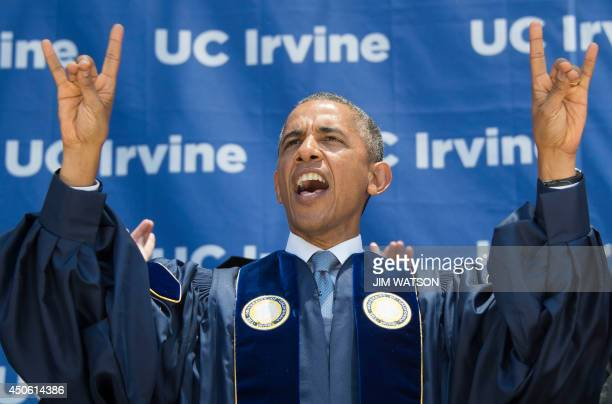 """President Barack Obama scream """"Zot, Zot, Zot"""", as he makes the symbols of the Anteater, the mascot for the University of California-Irvine, after..."""