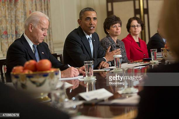 US President Barack Obama second from left speaks while meeting with members of the Democratic Governors Association in the State Dining Room with US...
