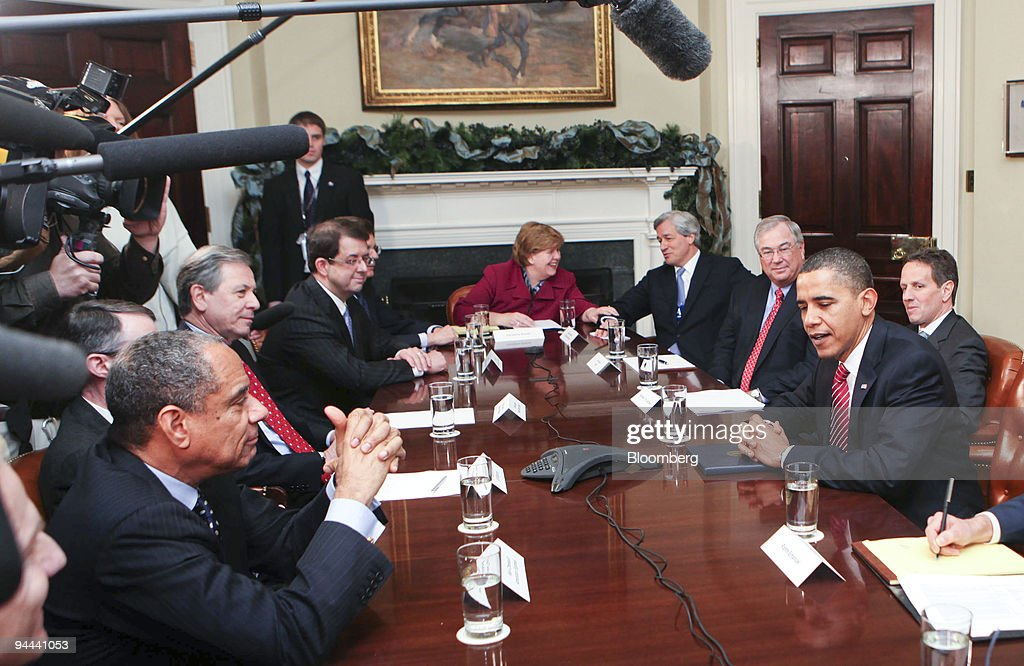 US Pres. Obama Meets With Financial Services Industry Members On Economy