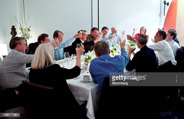 US President Barack Obama second from right meets with technology industry executives clockwise from left Eric Schmidt chairman and chief executive...