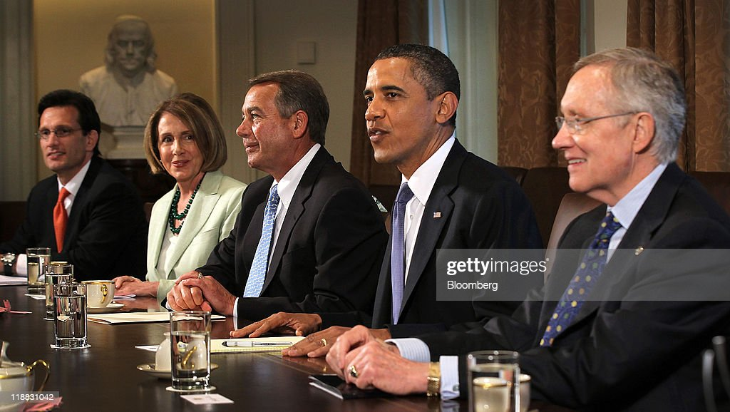 U.S. President Barack Obama, second right, meets with House Majority Leader Eric Cantor, a Republican from Virginia, left, House Minority Leader Nancy Pelosi, a Democrat from California, second left, House Speaker John Boehner, a Republican from Ohio, center, and Senate Majority Leader Harry Reid, a Democrat from Nevada, right, after a news conference in the Brady Press Briefing Room at the White House in Washington, D.C., U.S., on Monday, July 11, 2011. Obama said he will continue to press congressional leaders for 'the largest possible deal' on a package of significant deficit cuts. Photographer: Alex Wong/Pool via Bloomberg via Getty Images
