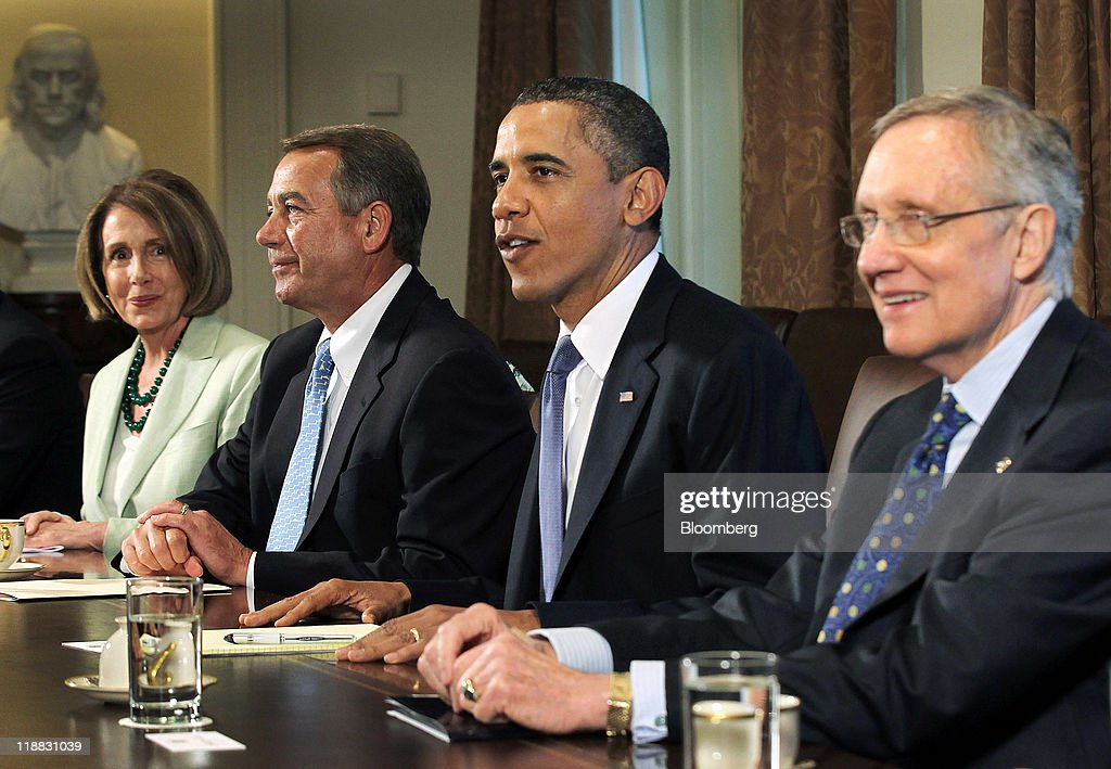 U.S. President Barack Obama, second right, meets with House Minority Leader Nancy Pelosi, a Democrat from California, left, House Speaker John Boehner, a Republican from Ohio, second left, and Senate Majority Leader Harry Reid, a Democrat from Nevada, right, after a news conference in the Brady Press Briefing Room at the White House in Washington, D.C., U.S., on Monday, July 11, 2011. Obama said he will continue to press congressional leaders for 'the largest possible deal' on a package of significant deficit cuts. Photographer: Alex Wong/Pool via Bloomberg via Getty Images