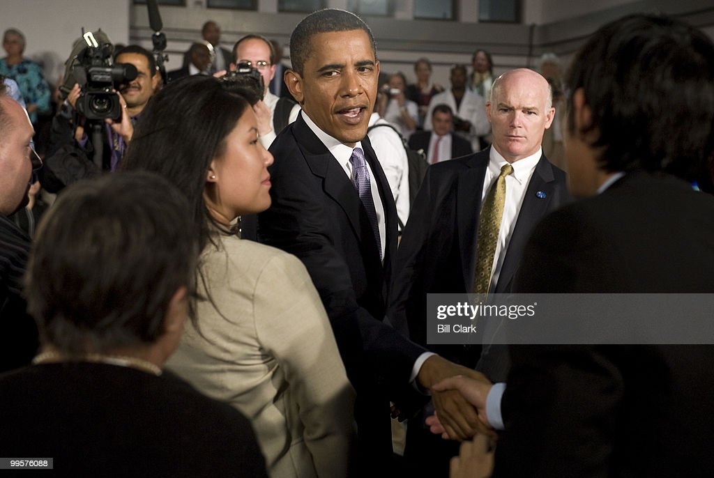 President Barack Obama shakes hands with audience members after his Healthcare Town Hall and Online Town Hall Meeting at the Annandale Campus of the Northern Virginia Community College on Wednesday, July 1, 2009.