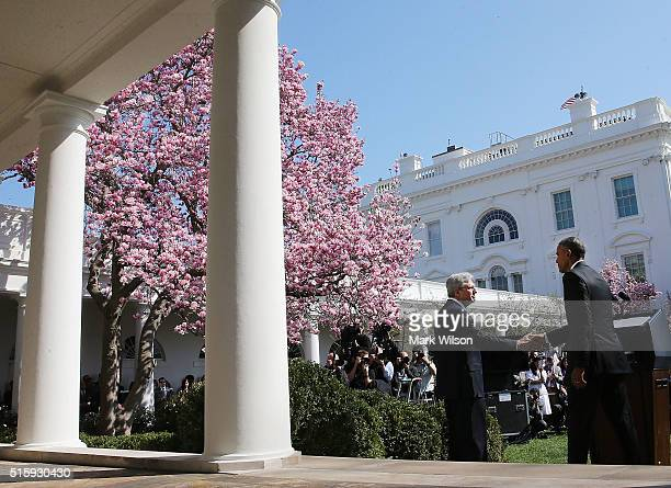 President Barack Obama, , shakes hands with Judge Merrick B. Garland,, after nominating him to the US Supreme Court, in the Rose Garden at the White...